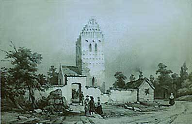 Augste Mayers maleri af Ballerup kirke
